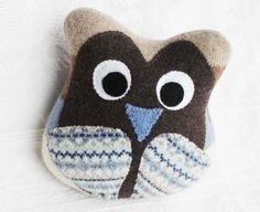 Handmade owl from recycled sweaters by Miracle Mittens & More #OwlDecor #EcoFriendlyGift #BrownBlue #FeltedWool #CuteOwl #BabyShowerGift