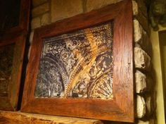 "Antique Tin Ceiling Tile with Handmade Antique Barnwood Frame 30""x18"" Wall Hanging on Etsy, $80.00"