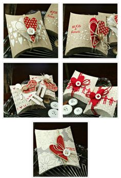 Lisa Johnson Design Rustic Hearts along w/ tips for using the pillow die.    I can totally make these, and just leave it with your colors, flower punches and the twine. could but a chocolate in it or another candy for the favor and i can affix your LOVE tags on it.