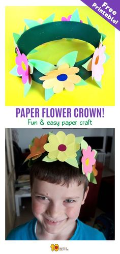 Paper flower crown - spring activity for children - 10 - Paper Flower Backdrop Wedding Flower Activities For Kids, Spring Activities, Feather Crafts, Flower Crafts, Kreative Jobs, Thanksgiving Crafts To Make, Paper Flower Backdrop Wedding, Crown Crafts, Crown For Kids