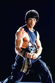 """theactioneer: """" Sylvester Stallone, Rambo: First Blood Part II publicity still (1985) """""""