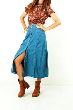 Long Denim Skirt / Prairie Skirt / Denim Prairie Skirt / Vintage Skirt / Button Up Skirt / Jean Skirt / Split Skirt / High Waist Skirt / S