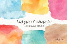 background watercolor Graphics This set of 6 watercolor clipart elements for graphic for greeting cards, photography, wedding cards by helloPAPER