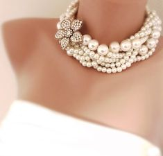 Bridal Pearl Statement Necklace Wedding Jewelry Rhinestone