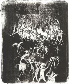 Paula Rego, Demónios, 1955, Litografia sobre pedra, 49 x 40,5 cm