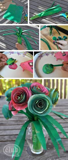 DIY Flowers DIY Crepe Paper Flowers : DIY Upcycle an ordinary paper bag into a beautiful paper rose bouquet craft