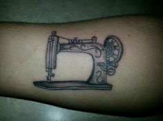 Simple black and gray sewing machine tattoo. For my other grandma.