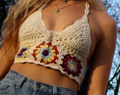 Winter Sunrise Crochet Top, Crochet cropped top, gypsy clothing, Hippie top, bohemian, colourful