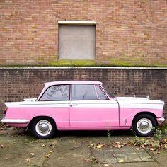 Pink retro or vintage car seen near a friend's studio in Bermondsey. Love it.