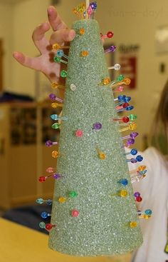 Fine Motor Christmas Trees - Holiday Fun for Little Hands - Fun-A-Day!