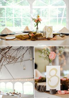 woodsy wedding table decor - table numbers are perfect!