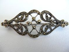 Art Nouveau Marcasite Brooch with Trombone by RaventreeVintage