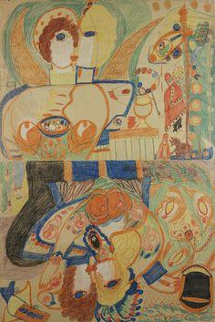 BAPTÊME DE PIE XII / UN BAISER À L'AVIATEUR – LE PAPE PIE XII MONNAYEUR ET SON SPHINX SUR LE SIÈGE (BAPTISM OF PIUS XII / A KISS TO THE AVIATOR—POPE PIUS XII COUNTERFEITER AND HIS SPHINX ON THE SEA (double-sided)/ Aloïse Corbaz, c. 1955, colored pencil on a sheet of folded paper, 59 x 39 3/8 in. Collection de l'Art Brut, Lausanne, Switzerland, cab-2164. Photo credits: © Collection de l'Art Brut, Lausanne. Photo by Olivier Laffely, Atelier de numérisation—Ville de Lausanne