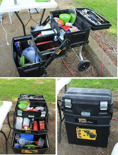 Stanley tool box used for storing camp/kitchen supplies...on wheels.