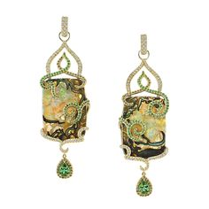 Erica Courtney Enchanted Earrings - 18K Yellow gold earrings featuring 66.50 ctw. of Yowah Opals, 2.42ctw. of blue/green Tourmalines surrounded by 0.85 ctw. of Tsavorite Garnets, 0.98  ct. of Diamonds and 0.49 ctw. of Champagne Diamonds - $60,000