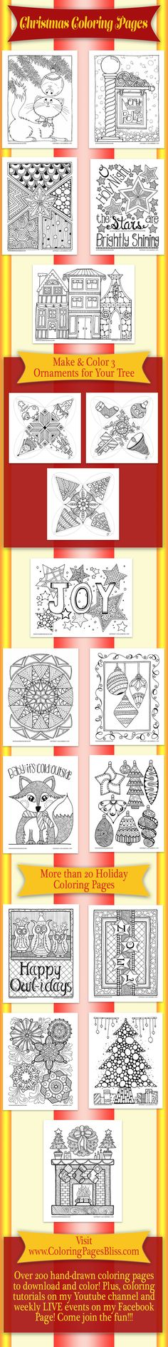 Christmas Coloring Pages Hand Drawn By Artist Jennifer Stay Come See Over 20 Downloadable