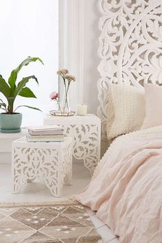 Sienna Carved Side Table Set | Urban Outfitters | $179