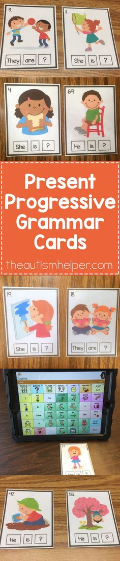 Check out our Present Progressive Grammar Cards to help target skills like using correct pronouns, helping verbs, & expanding other utterances. Link to resource on the blog!! From theautismhelper.com #theautismhelper