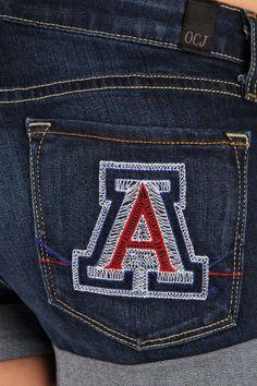 OCJ Apparel | Premium Collegiate Denim | Arizona Wildcats Cuffed Shorts Branded in Deep Indigo | www.ocjapparel.com