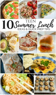 Teen Summer Lunch Ideas & Quick Meal Prep Tips- MM Teen summer lunch ideas and quick meal prep tips to help teens make their own lunches. Sandwiches, noodles, wraps, and more. Cheap Clean Eating, Clean Eating Snacks, Healthy Recipes, Healthy Snacks, Summer Lunch Recipes, Summer Lunches, Brunch, Sandwiches, Wraps