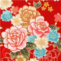 Kokka red cherry blossom rose flower fabric with gold