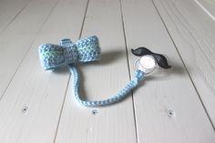 Little Gentleman Pacifier Clip - Bow Tie - Crochet Pacifier Holder - Baby Boy Bow Tie by LovelyLittleDaydream on Etsy
