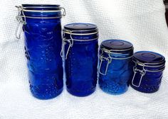 set of 4  colbalt blue glass canisters by peaceocake on Etsy,