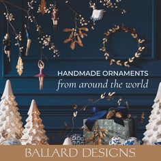 Add timeless charm with Christmas Tree Ornaments from Ballard Designs. Tree Decorations, Christmas Decorations, Holiday Decor, Christmas Wrapping, Christmas Tree Ornaments, Outdoor Furniture Covers, Green Colour Palette, Floral Bedding, Fabric Gifts