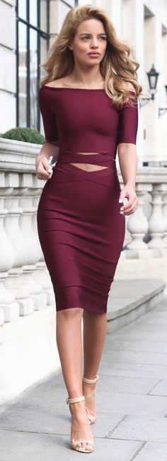 Burgundy Two Piece - My Bandage Dress