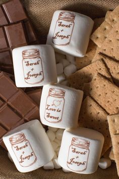 Serving s'mores or hot cocoa at your wedding? Candy with a Twist can customize fluffy jumbo marshmallows with a graphic, text, or both for a sweeter presentation.