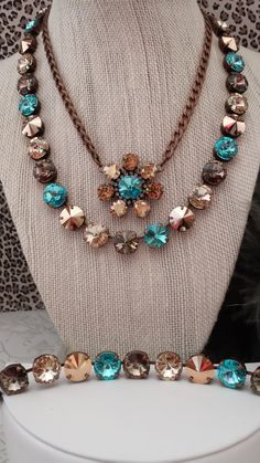 NEW 12mm Desert Sunset Genuine Swarovski Necklace. Set in Antique Copper. Full Necklace Only. on Etsy, $85.00