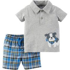 Child of Mine by Carter's Newborn Baby Boy Collared Shirt and Shorts Outfit Set, Size: 0 - 3 Months, Gray