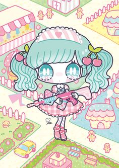 Kawaii Girl with Gun - Q version of the second element wallpaper cartoon illustrations to sell Meng
