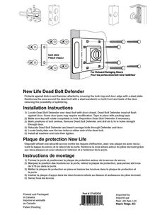 New Life Products 37-652OS Door Deadbolt Defender, Latch Guard, Door Reinforcer 5-3/4 IN X 7 IN Chrome Plated Outswing, Protects outswinging door from forced entry, All In One Heavy Duty, Replacement For Prime-Line Door Reinforcer U9496 - Door Lock Replacement Parts - Amazon.com