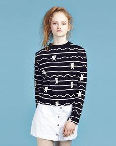 Lazy Oaf Bear Stripe Long Sleeve T-shirt