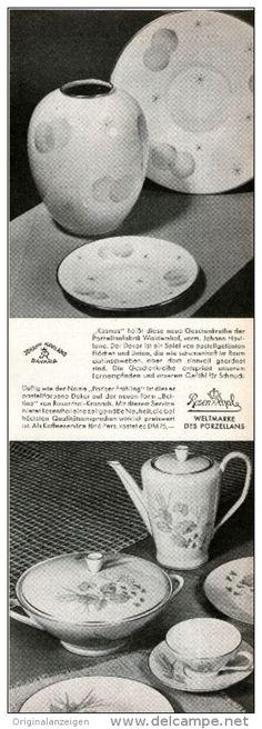 "Original-Werbung/Anzeige 1954 - ROSENTHAL PORZELLAN / ""KOSMOS"" ""PARISER FRÜHLING"" - ca. 80 x 230 mm"