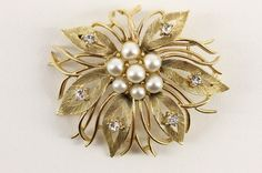 "Vintage Signed Costume Jewelry LISNER Rhinestone & Faux Pearl Brooch Pin 2.5"" | eBay"