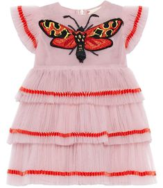 Baby tulle dress with butterfly, frill dress, girl pink dress, little girl fashion