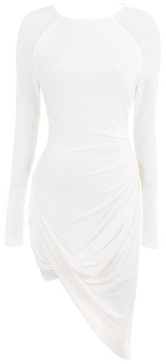 Clothing : Drape Dresses : 'Amara' Ivory Drape Jersey Dress