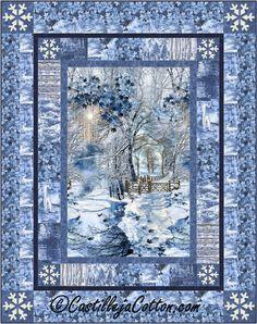 Scenic Snow Fall Lap Quilt ePattern, 4910-1, winter quilt, lap quilt pattern, panel quilt pattern digital download