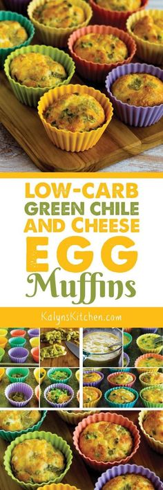 My blog has a lot of options for Egg Muffins for breakfast, but these easy 5-Ingredient Low-Carb Green Chile and Cheese Egg Muffins are one kind I make over and over. This tasty recipe is also gluten-free and South Beach Diet friendly. [found on http://KalynsKitchen.com]