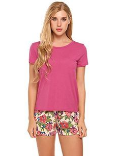 9db187b0cb Short Sleeve Pajama Set for Women 2 Piece Sleepwear - Rose Red - Clothing