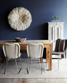 Contemporary Teak Dining Table Mixed With Vincent Sheppard Chairs Recycled Shutter Cabinet And