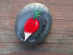 Items similar to Radish - Hand Painted Stone Veggie Garden Marker on Etsy Stone Quotes, Garden Markers, Stone Crafts, Love Painting, Stone Art, Rock Art, Painted Stones, Christmas Bulbs, Hand Painted