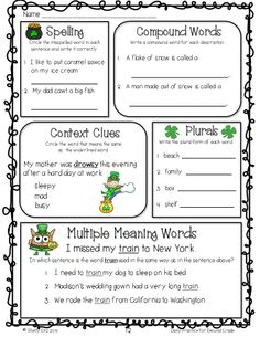 Grammar review for second grade--multiple mean words, plurals, compound words, context clues, spelling, vowel patterns, and more--click on PREVIEW for FREE sample pages---aligned with common core standards for second grade