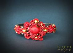 Red soutache bracelet beaded cuff by pUkke on Etsy