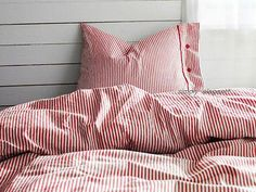 IKEA Nyponros Duvet Quilt Cover 2 pc set Red Classic Ticking Stripe Cottage,Twin