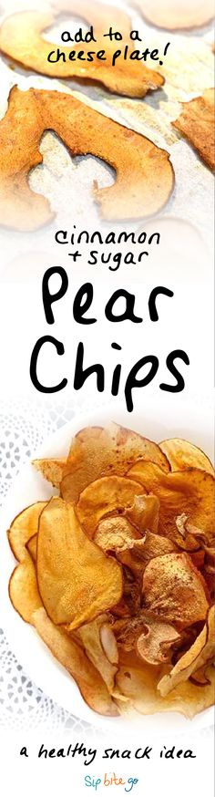 Crunchy pear chips make for a feel-good Fall recipe! Make 'em simple and healthy. Use a light dusting of sugar and cinnamon. They are great for breakfast on the go, in a salad with goat cheese, or as a healthy snack or dessert or cheese plate. They can be baked in the oven or popped in the dehydrator for any seasonal dish - Autumn, Thanksgiving, Christmas | via http://www.sipbitego.com/cinnamon-pear-chips-oven-baked/ #healthysnack #pears #dessert