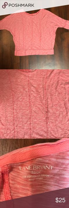 Lane Bryant Plus Size Red Top 22/24 Lane Bryant Red/White Fitted Top with 3/4 sleeves Size 22/24 Great condition with no sign of wear, tear, or stains. Comes from smoke free and pet free home. Lane Bryant Tops Blouses