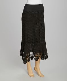 Look at this #zulilyfind! Black Sheer Crocheted Maxi Skirt by Raj Imports #zulilyfinds
